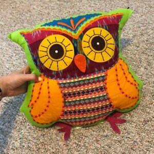 Boho owl pillow